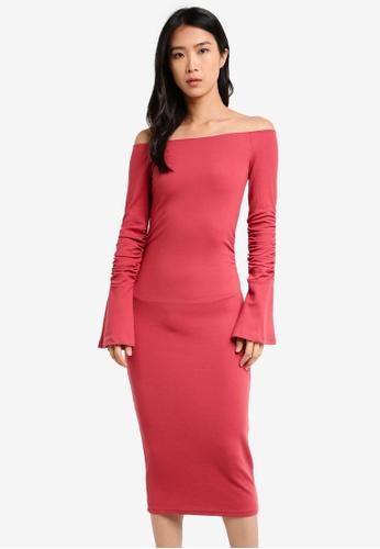 LOST INK pink Bardot Jersey Dress LO238AA0T1RKMY_1