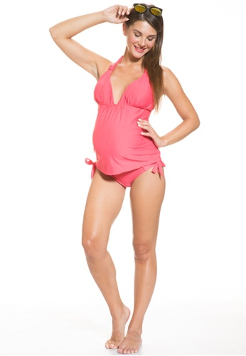 Mayarya red Tie Neck Maternity Tankini Set 0BC30AADFFAECCGS_1