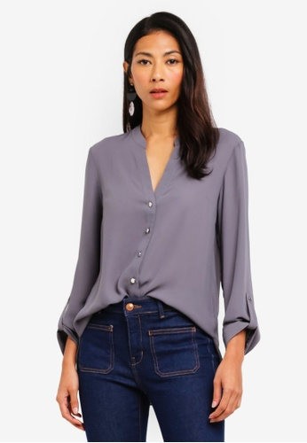 Dorothy Perkins 灰色 Grey Collarless Shirt D4747AAC49CAEFGS_1