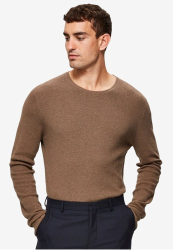 Selected Homme brown Dante Camp Crew Neck Sweater 6AEA2AA7DB89A3GS_1