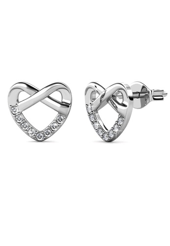 Her Jewellery silver Tie Earrings (White Gold) - Made with premium grade crystals from Austria 14E9FAC3AE1A5DGS_1