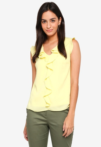 Dorothy Perkins yellow Billie & Blossoms Lemon Ruffle Shell Top CFFC9AAEE5D35DGS_1