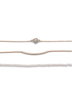 Rhinestone And Faux Pearl Bracelet Set