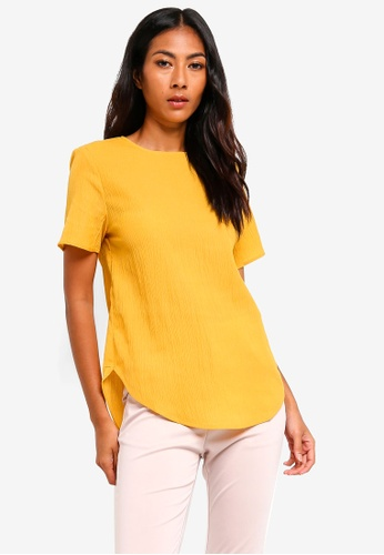 ZALORA BASICS yellow Basic Curved Hem Top B50E7AA40234E1GS_1