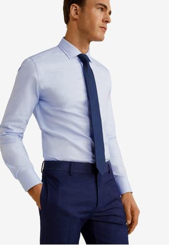 MANGO Man 藍色 修身Fit Microstructured Tailored 襯衫 DD252AA3606947GS_1