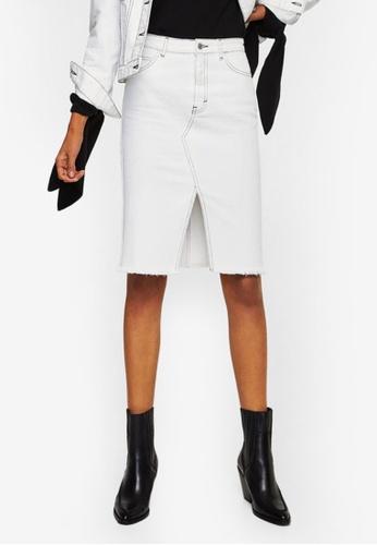 Mango white Contrast Seam Denim Skirt EDF78AA14D3449GS_1