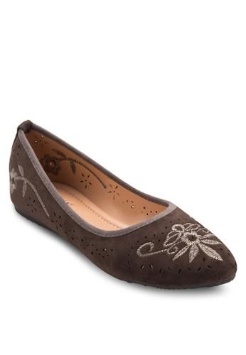 刺繡圖案尖頭平底esprit home 台灣鞋, 女鞋, 鞋