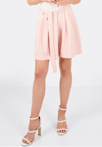FORCAST brown Annalise Tie Waist Shorts FO347AA0GLNJSG_1