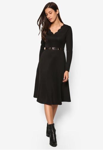 扇貝V 領長esprit 錶袖傘擺洋裝, 服飾, 洋裝