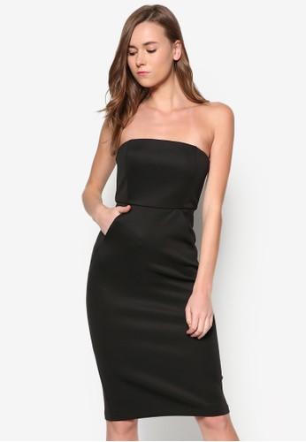 抹胸束腰及膝連身裙, 服飾, 洋zalora taiwan 時尚購物網裝