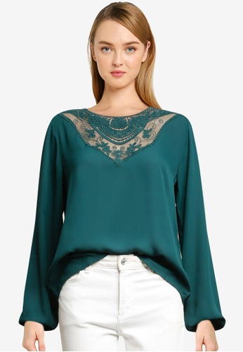 JACQUELINE DE YONG green Kalinka Long Sleeve Top AFAB8AAECEFE6EGS_1