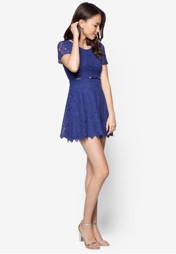 蕾絲腰飾連身裙, zalora taiwan 時尚購物網服飾, 洋裝