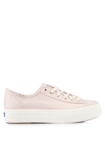 Keds pink Triple Kick Metallic Linen Sneakers KE942SH0STFXMY_1