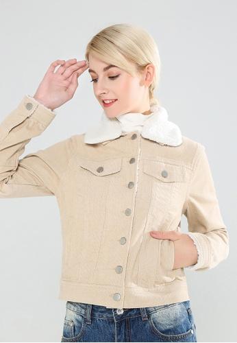 London Rag beige Jacket With Faux Fur Neckline 95AB7AAD6ED119GS_1
