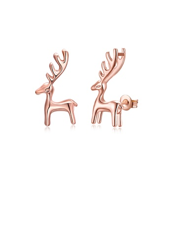 Glamorousky silver Simple Fashion Plated Rose Gold Deer Stud Earrings 5EC1FACAB7813EGS_1