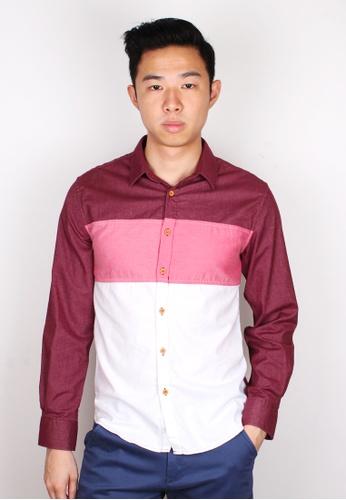 Moley red Tri-Colour Block Long Sleeve Shirt MO329AA14KIJSG_1