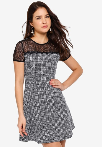 2788df31d0f ZALORA black and white Fit And Flare Tweed Dress D39D4AAE1EED46GS 1