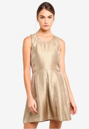 Armani Exchange gold Shiny Sleeveless Dress C023BAAE3D5FB6GS_1