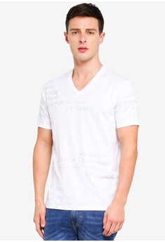 75bbd609929793 Armani Exchange white Foil Logo All Over Vneck T-Shirt C64E6AA627E733GS 1