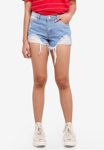 Penshoppe blue Denim Shorts With Distressed Effect 72355AA711E75EGS_1