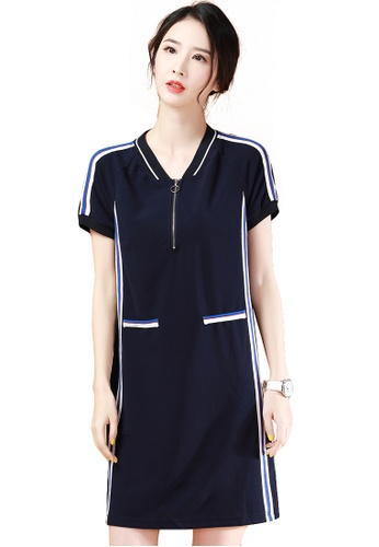 A-IN GIRLS navy Fashion Stand Collar Short Sleeve Dress 75EA3AA133EC64GS_1