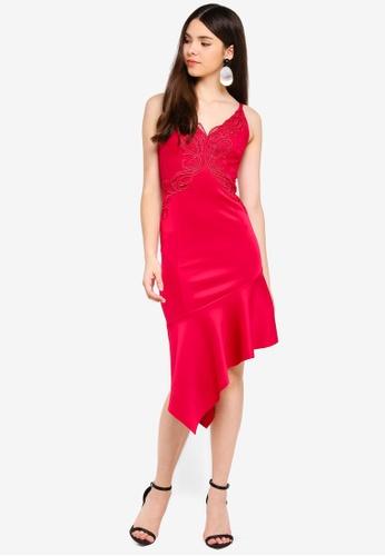Lipsy red Asymmetrical Hem Dress C70D7AABDA2B6BGS_1