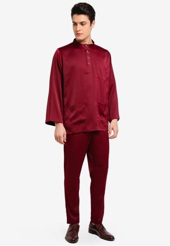 Zalia Homme red Baju Melayu Co-ordinate CE177AA2FE30C4GS_1