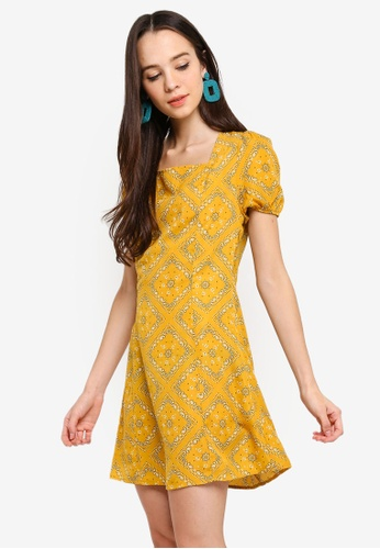 Something Borrowed yellow Square Neck Fit And Flare Dress 32C78AAA7969CCGS_1