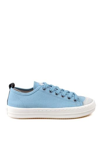 J.DAUL 藍色 經典厚底真皮帆布休閒鞋 JD556SH09Q57TW_1