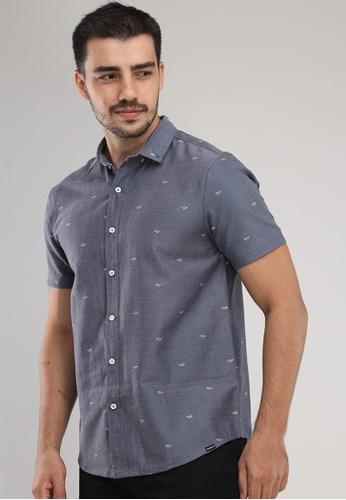 Bossini Men navy Woven Polo Short Sleeves Shirt 9C22EAA7E75295GS_1