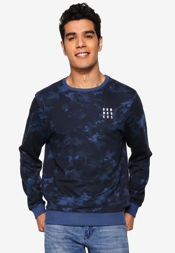BLEND blue Faded Vine Print Sweatshirt DC948AA3DFA947GS_1