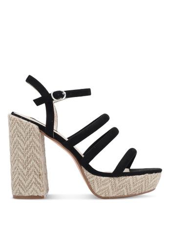 ZALORA 黑色 繞踝繫帶粗跟涼鞋 65A51SH4EC5FC6GS_1