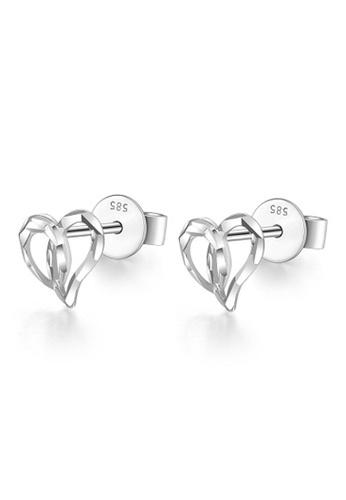 MaBelle silver 14K White Gold Heart Stud Earrings 06B11AC8D530C5GS_1