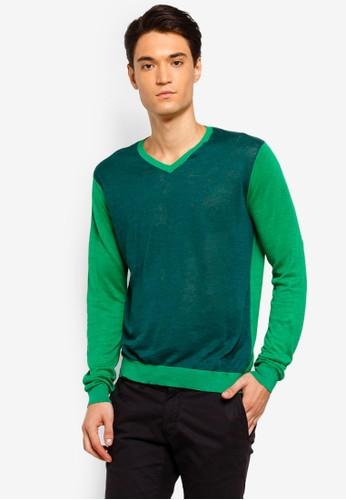 Armani Exchange green Contrast Sleeve Pullover 6FD66AADB6A4C1GS_1