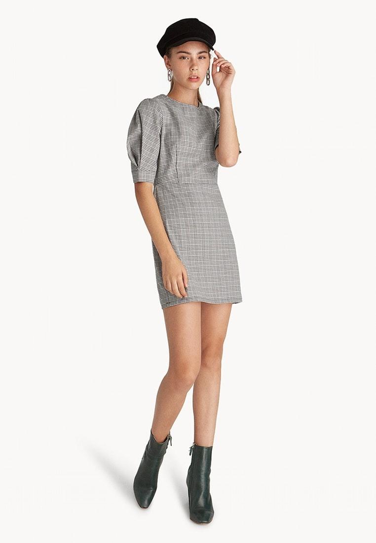 Mini Puffed Plaid Sleeve Dress Glen Black Pomelo S8wpS