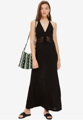 TOPSHOP black Crochet Waist Maxi Dress 86770AA64C93A3GS_1