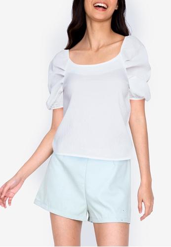ZALORA BASICS white Boatneck Pleated Sleeve Top 7F9BEAAE8DE247GS_1