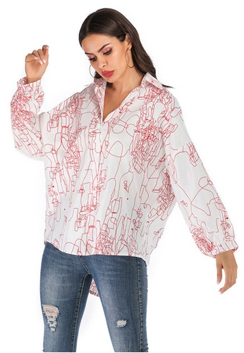 Twenty Eight Shoes white VANSA Streak Print Long Sleeve Shirts  VCW-Sh6141 B3F21AA9BA36F4GS_1