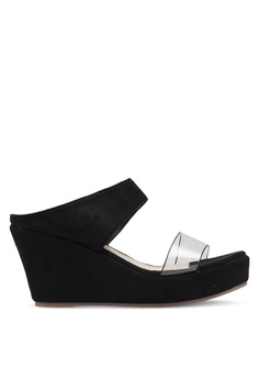 d2590cc3e5b56e Spiffy black Double Strap Wedges 421CASHA31E312GS 1