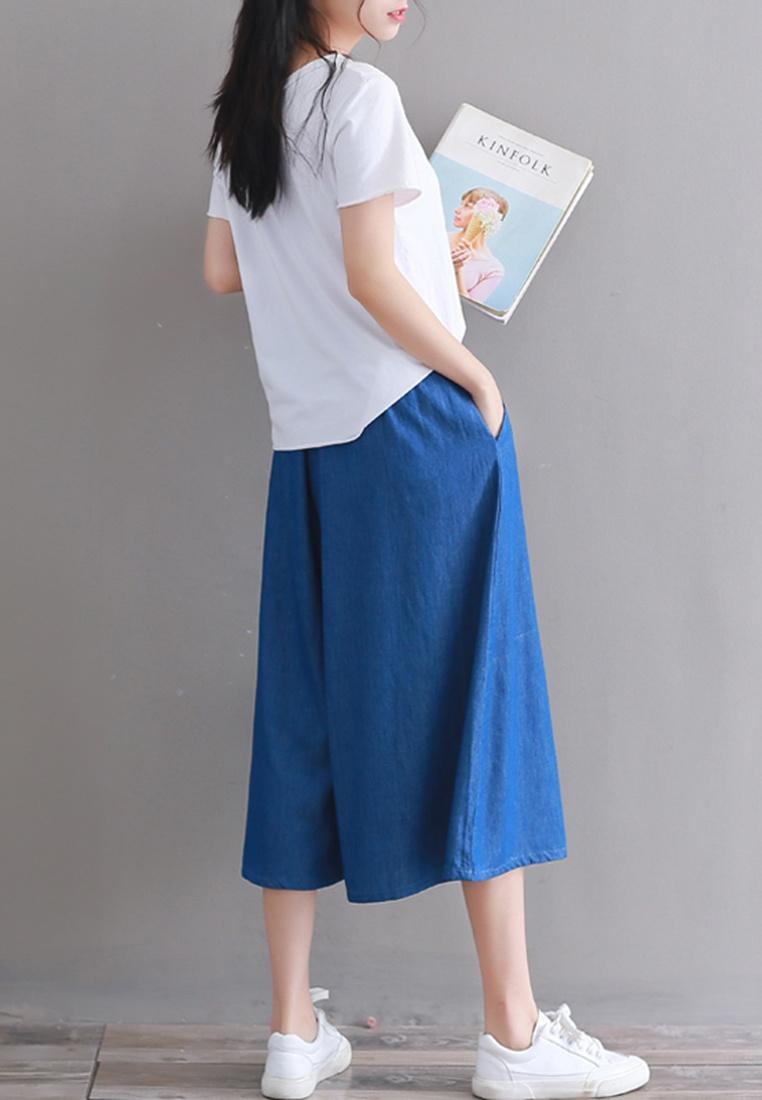 Cropped blue Lara Wide Women Leg Pants pStqqUxgw