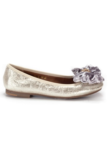 Shu Talk gold LeccaLecca Leather BOW Ballet flats with Charms E5B37SHF57E102GS_1