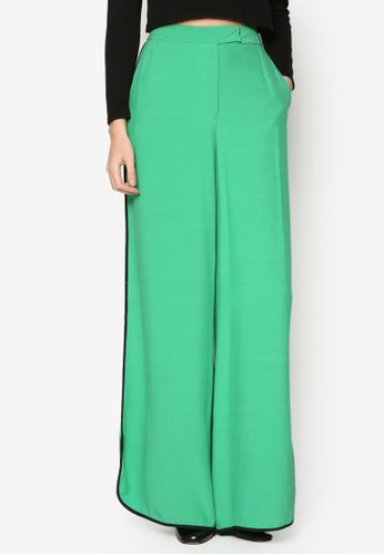 WAREHOUSE green Contrast Piped Boxy Trousers WA653AA05FIOMY_1