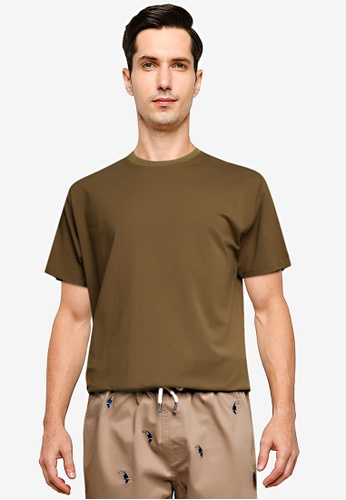 Sparrow Green green Belden Ceramic Rib-Cinched Slim T-Shirt E77D7AAC6644CEGS_1