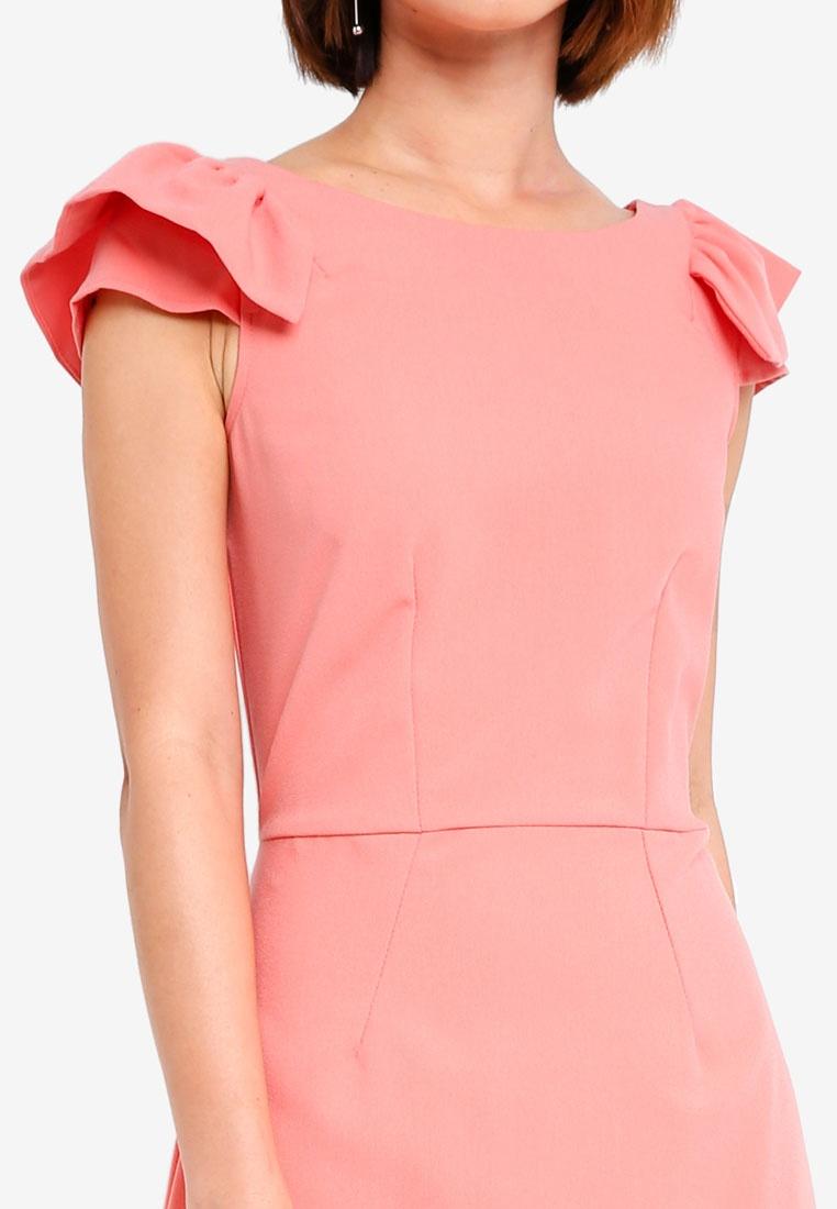 CLOSET Pencil Peach Frill Dress Shoulder fTtwOqW0