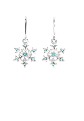 Glamorousky blue Glistening Snowflake Earrings with Sky Blue Austrian Element Crystals 618FFAC60BC591GS_1
