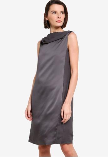 ck CALVIN KLEIN grey LIGHTWEIGHT TEXTURED SATIN MATTE DRESS - FULLY LINED 5661DAA24D5F2CGS_1