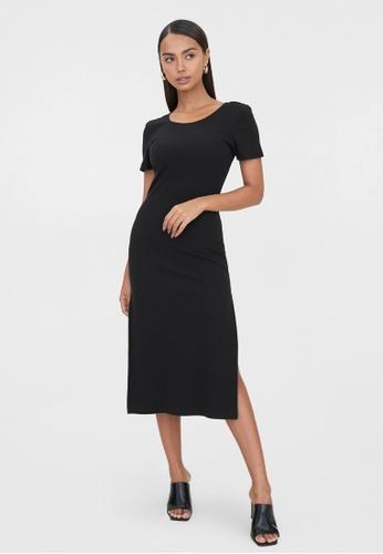 Pomelo black Sustainable Open Back Side Slit Dress - Black D2CCAAABFD8A1FGS_1