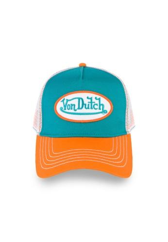 Von Dutch white and orange and green and blue Von Dutch Turquoise & Orange Trucker Cap 2FE30ACC2F1823GS_1