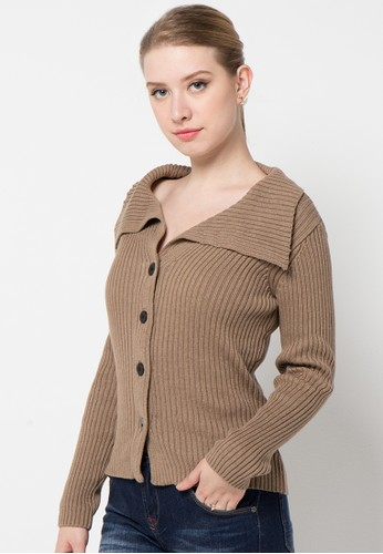 Noir Sur Blanc brown Ladies Cardigan With Button NO321AA29OSOID_1
