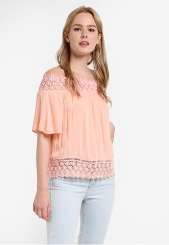 Miss Selfridge pink Coral Lace Trim Bardot Top MI665AA76DETMY_1